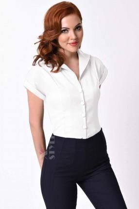 Белая блузка в стиле Ретро XC196