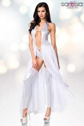 Откровенное серебристое платье-боди и гетры S215