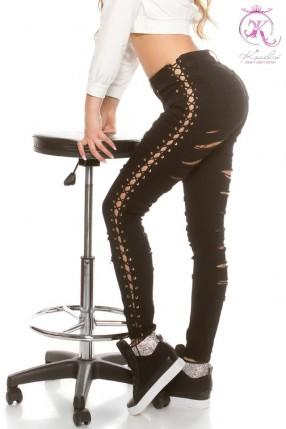 Черные джинсы со шнуровкой и прорезями KouCla