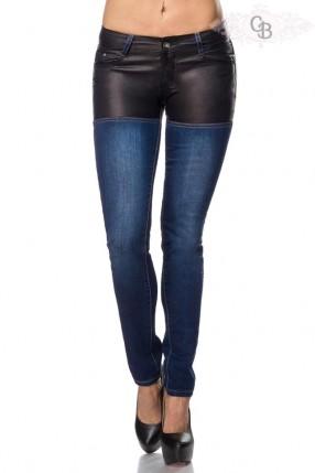 Джинсы с кожаными шортами Chic BonBon