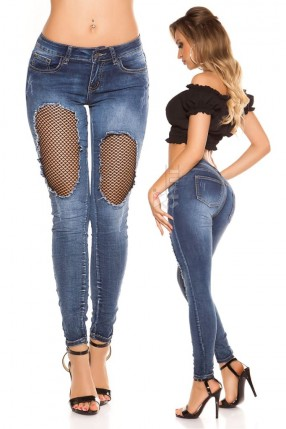 """""""Рваные"""" голубые джинсы с сетчатой вставкой MF8086"""