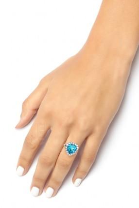 Кольцо с голубым камнем XJ8186