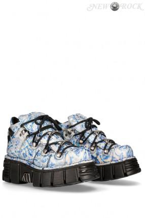 Женские кроссовки из натуральной кожи Vintage Flower Blue