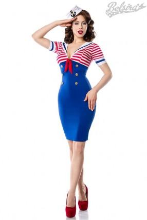 Платье ретро в морском стиле B5443