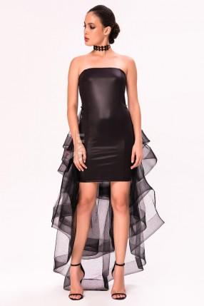 Кожаное платье со шлейфом X5454