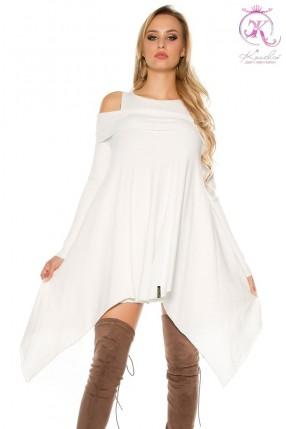 Белое асимметричное платье KC304