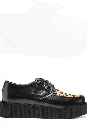 Туфли с леопардовой вставкой
