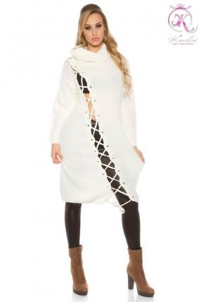 Белое платье-свитер KC5366
