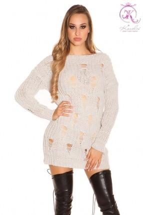 Свитер-платье с прорезями спереди KC5376