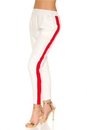 Белые брюки с лампасами MF8092