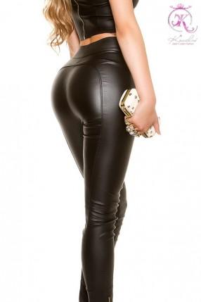 Черные джинсовые брюки с имитацией кожи KC8112