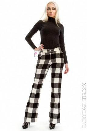 Теплые клетчатые брюки-клеш Xstyle