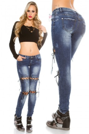 Узкие женские джинсы со шнуровками MF8072