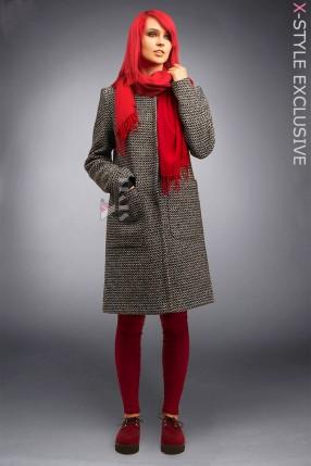 Твидовое пальто оверсайз X4034