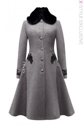 Зимнее шерстяное пальто с кружевом X5074