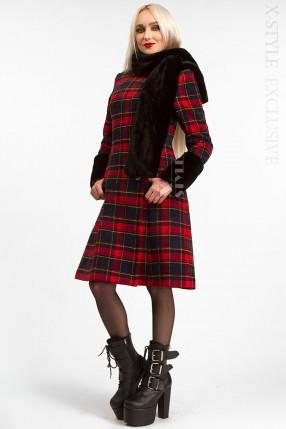 Зимнее женское пальто с меховой шалью X5058