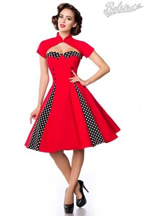 Красное ретро-платье с болеро