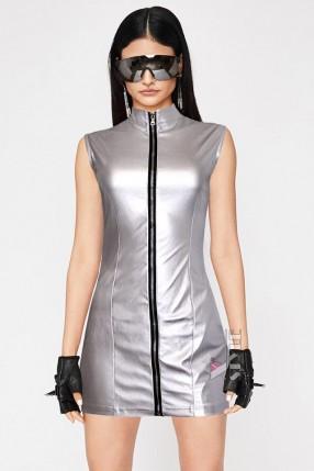 """Серебристое платье с эффектом """"металлик"""" CC456"""