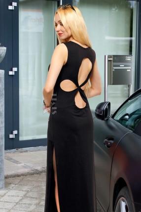 Длинное платье с вырезами на спине X5465