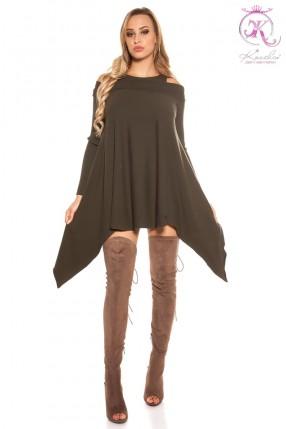 Трикотажное платье цвета хаки