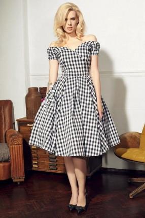 Клетчатое платье с поясом X5347