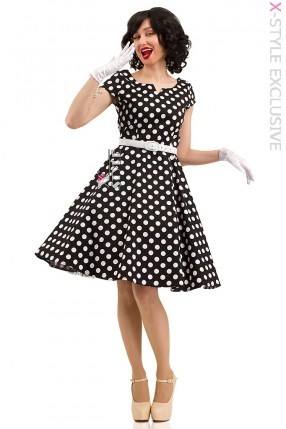 Черно-белое платье в горох с поясом X5340