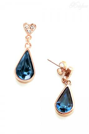 Серьги с синими камнями и позолотой Aneis