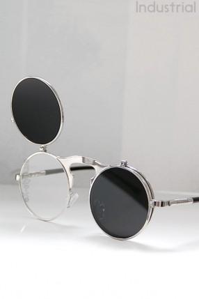 Серебристые круглые очки Hitek