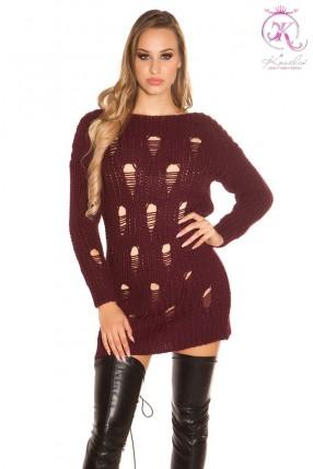 Рваный спереди свитер-платье KouCla