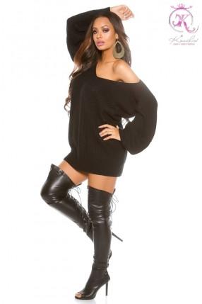 Черный свитер на одно плечо KC1217