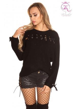 Женский свитер со шнуровками KouCla