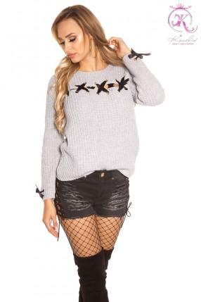 Серый женский свитер со шнуровкой KouCla