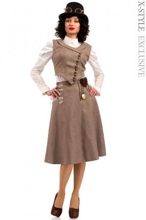 Костюм Стимпанк (жилетка, юбка, шляпа, очки, чехол с часами)
