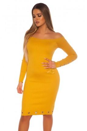 Трикотажное платье в рубчик средней длины MF5453