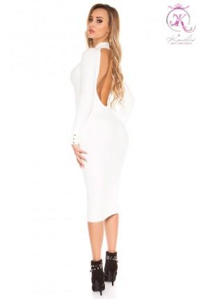 Белое вязаное платье с вырезом на спине KC368