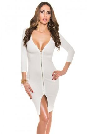 Белое вязаное платье миди MF5419