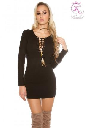 Черное вязаное мини-платье KC5422