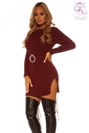 Вязаное платье с разрезами и поясом KC5014