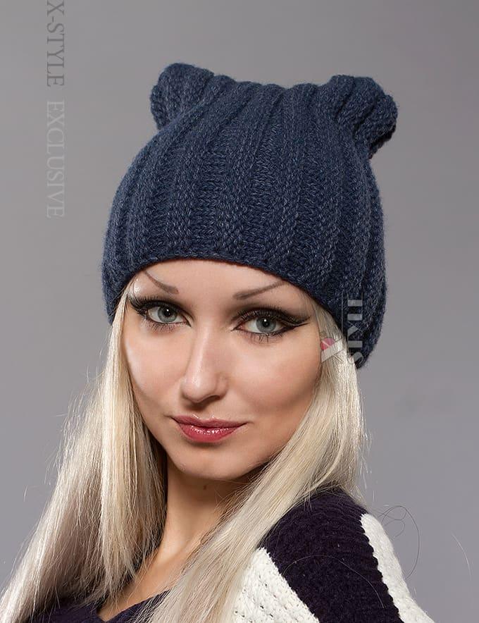 Зимняя шапка с ушками кошки