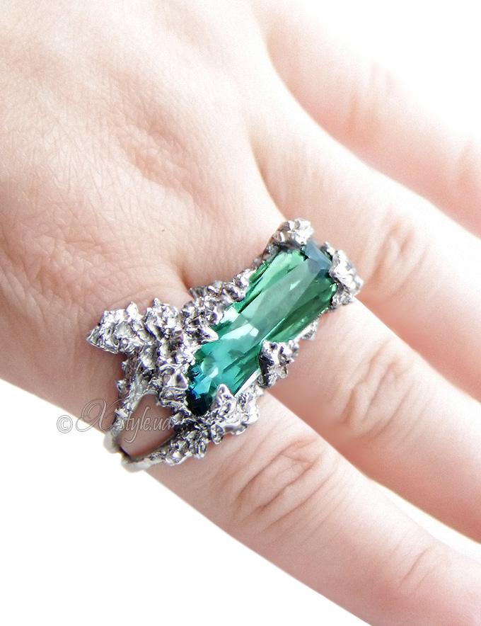 Кольцо на два пальца Зимний сад (ручная работа)
