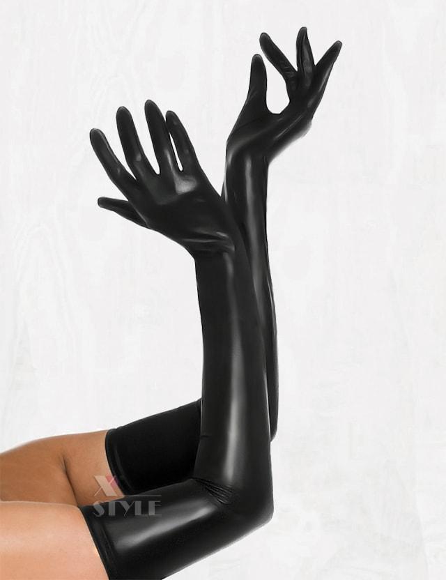 Длинные перчатки из стрейч-кожи X077